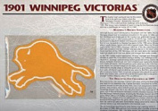NHL 1901 Winnipeg Victorias Official Patch on Team History Card