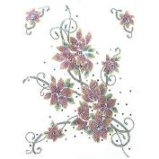 Rhinestone Iron on Transfer Hot Fix Motif Crystal Fashion Design Rose Vine 3 Sheets 10.4*37cm