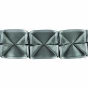 Boxed Pleated Ribbon 100-Percent Polyester Ribbon, Grey