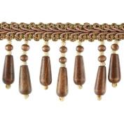 Beaded Trim BB-937-66 5.1cm Wood Bead Trim with 0.6cm Braid, 10-Yard Roll, Chestnut