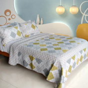 [Fantasy Drift] 100% Cotton 3PC Vermicelli-Quilted Patchwork Quilt Set