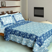 [Blue River] 100% Cotton 3PC Vermicelli-Quilted Patchwork Quilt Set