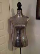 Female Decorative Dress Form Mannequin Print Fabric Modern Black Colour Base