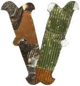 ZENTIQUE Mediaeval Patched Metal Letter, Monogrammed V
