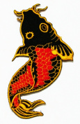 Japanese Fish Black and Red Logo Iron on Patch Great Gift for Men and Women/ramakian