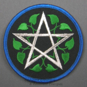 7.6cm Leafy Pentagram Embroidered Cloth Patch, PA7