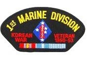 1ST MARINE DIVISION KOREAN VETERAN 1950-53 BLACK PATCH(Can be sewn or ironed on jacket or hat) Patch 7.6cm x 13cm