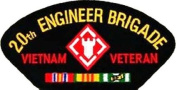 20TH ENGINEER BRIGADE VIETNAM VETERAN BLACK PATCH(Can be sewn or ironed on jacket or hat) Patch 7.6cm x 13cm
