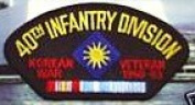 40TH INFANTRY DIVISION KOREAN WAR VETERAN 1950-53 BLACK PATCH(Can be sewn or ironed on jacket or hat) Patch 7.6cm x 13cm