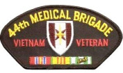 44TH MEDICAL BRIGADE VIETNAM VETERAN BLACK PATCH(Can be sewn or ironed on jacket or hat) Patch 7.6cm x 13cm