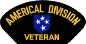 AMERICAL DIVISION VETERAN EMBLEM BLACK PATCH(Can be sewn or ironed on jacket or hat) Patch 7.6cm x 13cm