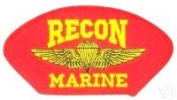 RECON MARINE RED PATCH(Can be sewn or ironed on jacket or hat) Patch 7.6cm x 13cm