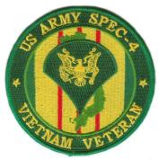 US Army Spec 4 Vietnam Veteran 10cm Patch
