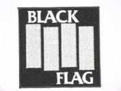 "BLACK FLAG Logo Embroidered Iron On HC Punk Patch 3.5""/9cm x 3.5""/9cm By MNC Shop"