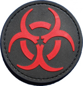 Red and Black Biohazard Morale Patch with hook and loop