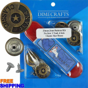 20mm Classic Star Brass Jean Tack Buttons Kit, 6 Set with Tool