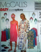 McCall's 2475 UNCUT Misses Robe, Spa Wrap, Headband, Headwrap and Slippers Size S M L