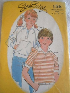CHILDS PLACKET SHIRT SIZE 6-8-10-12 SEW EASY SEWING PATTERN #156