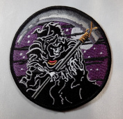Grim Reaper Purple 8.3cm Wide Embroidered Patch