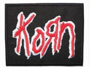 KORN Red Logo Iron On Embroidered Nu Metal Band Patch Approx