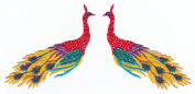 Peacock Peafowl left and right Animal Sew-on Iron-on Patches Embroidered Applique