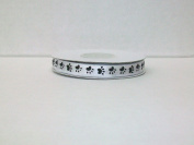 Dog Paw Print Satin Ribbon 1cm 25 Yards -- White Background/ Black Paw Print