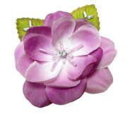 Cuteque International 6-Piece Pack Rhinestone Embellished Colourful Garden Roses with Leaves, Purple