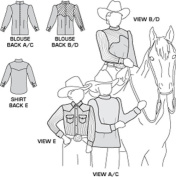 Suitability 3361 Womens and Girls Blouse and Childrens Western Shirt Equestrian Sewing Pattern