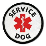 SERVICE DOG Assistance Animal Red Medical Alert Symbol 10cm Black Rim Sew-on Patch