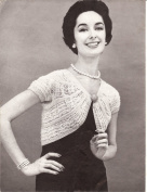 Vintage Knitting PATTERN to make - Knitted Lacy Ribbed Bolero Shrug Jacket. NOT a finished item. This is a pattern and/or instructions to make the item only.