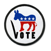 Vote DEMOCRAT Party Donkey Stars and Stripes 10cm Black Rim Sew-on Patch