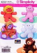 SIMPLICITY Sewing Pattern 4222 Simplicity 4222 Loopy Stuffed Animals, Lamb, Bear, Lion, Cat