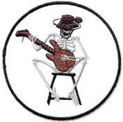8.9cm x 8.9cm Social Distortion Skull Skeleton Guitar Playing Logo Music Band jacket T-shirt Patch Iron on Embroidered Sign music patch by Tourlesjours