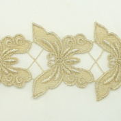 Gold Metallic Lace trim by the yard - Bridal wedding Lace Trim embroidery trim wedding fabric Millinery accent motif scrapbooking crafts lace for baby headband hair accessories dress bridal accessories by Annielov trim #127