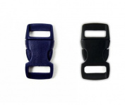 Mix of 50 Black and Blue (Deep Sapphire) 1cm Buckles (25 Black/25 Blue) , Contoured Side-Release. Perfect for Paracord Bracelets.