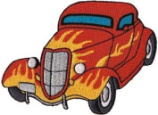 Novelty Iron on Patch - Car Culture Red Hot Rod with Flames Roadster