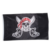 Pirate Flag Jolly Roger with Red Bandana - 3 X 5 Feet