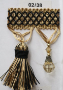 Beaded Tassel Fringe Trim 8.9cm Style# Bf 4027 02/38 Black/gold Colour, Sold By the Yard