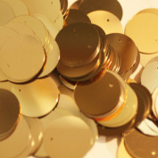 20mm Round SEQUIN PAILLETTES METALLIC GOLD Loose sequins for embroidery, applique, arts, crafts, and embellishment.