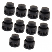 Amico 10 Pcs Plastic Toggle Stoppers 2 Holes Cord Locks End Black