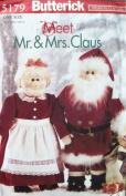 OOP Butterick Craft Pattern 5179. Stuffed Mr & Mrs Santa Claus Dolls & Bag