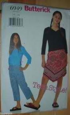 Butterick 6949 Juniors' Top, Skirt & Pants Size 1/2...7/8