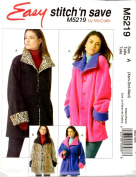 McCall's Patterns M5219. Easy stitch 'n save, Misses/Miss Petite Reversible Jackets Size A