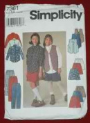 Simplicity 7361 Girls' Shirt, Vest, Skirt, Pants & Shorts Size AA