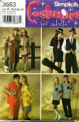 Simplicity Costumes for Adults Cowboy, Cowgirl, Jazz Musicians, NASCAR, Basketball Referees Sewing Pattern # 3683