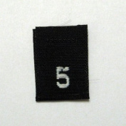 Size 5 (Five) Black Woven Clothing Size Labels