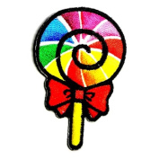 Rainbow Fancy Sweet Lollipop Candy Kid Appliques Hat Cap Polo Backpack Clothing Jacket Shirt DIY Embroidered Iron On / Sew On Patch
