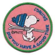 Snoopy Ski Hat Skiing Embroidered Peanuts Iron On / Sew On Patch