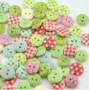 100pcs Mixed Wooden Buttons in Bulk Buttons for Crafts Button Painting Round Buttons Bu-89
