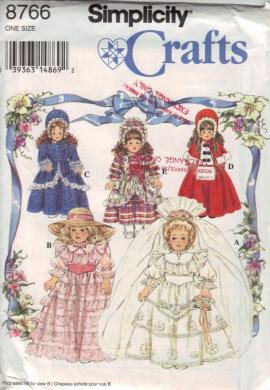 Simplicity Sewing Pattern 8766 Dresses for 41cm and 46cm Colector Dolls Victorian Colonial